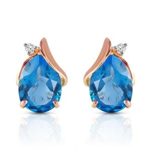 14K SOLID GOLD STUD EARRING  DIAMONDS & BLUE TOPAZ